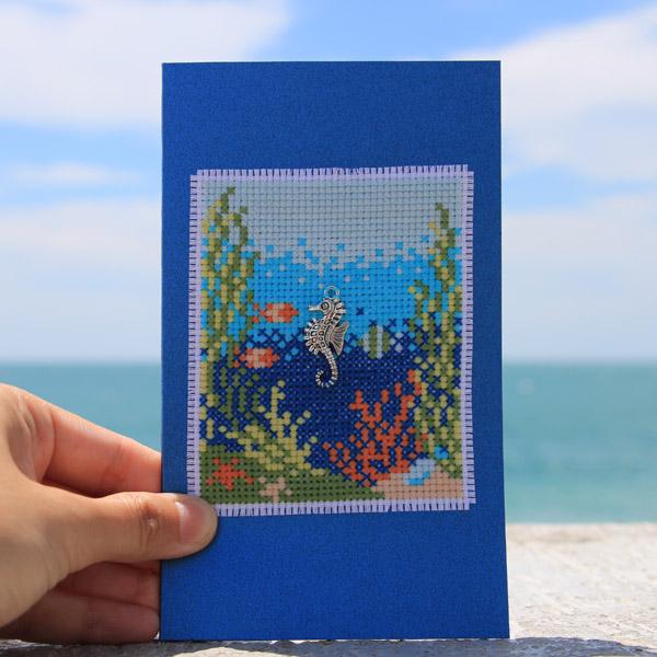 Under the sea cross stitch on postcard by Kate Spiridonova