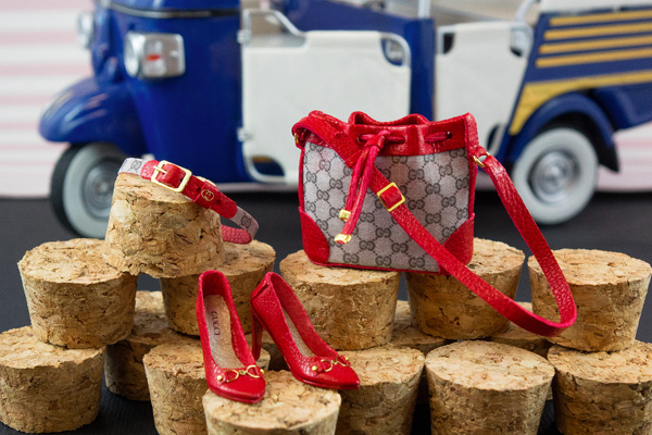 Gucci inspired miniature heels, bag and belt set by Patrizia Santi