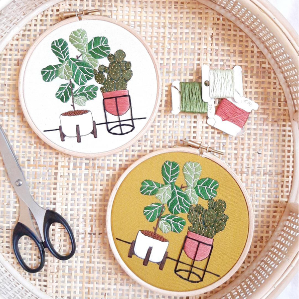 Sew Botanical finished embroidery hoops