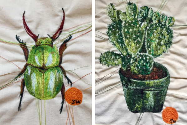 Suzy Wright Green Beetle and Cactii embroideries