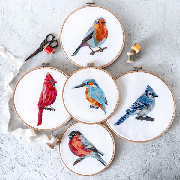 geometric bird cross stitch designs in hoops by Velvet Pony