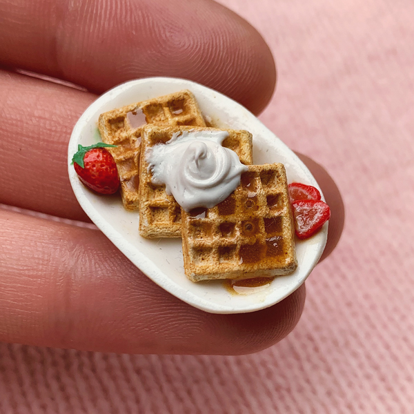 Miniature waffles in miniature clay