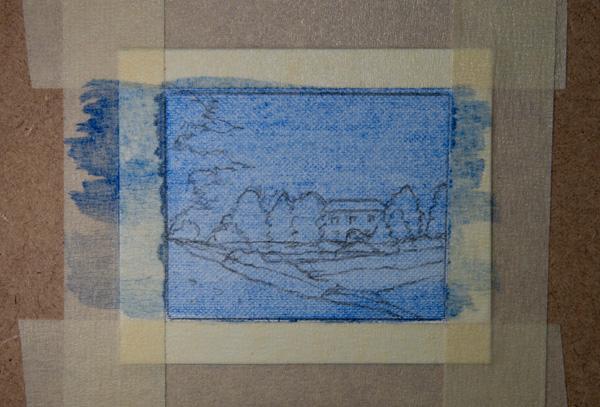 miniature oil painting landscape outline