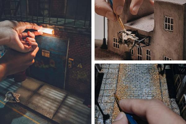Max Aditya grungy, abandoned-style scene miniatures
