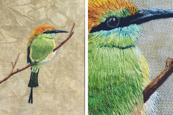 Little Green Bee Eater silk shading by Jessica Devin