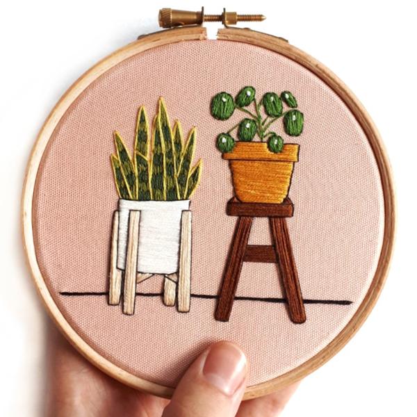 Sew Botanical plant design embroidery hoop