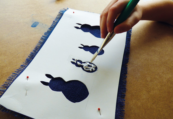 Painting on hessian fabric using bunny template