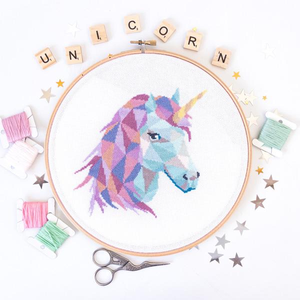 geometric unicorn cross stitch pattern by Velvet Pony