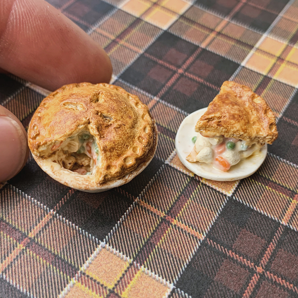 Miniature pie in polymer clay