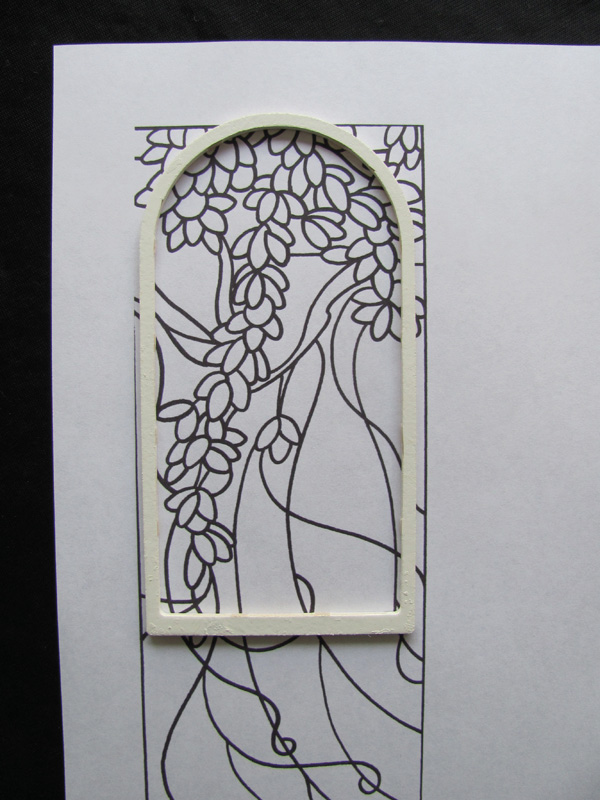 Miniature window frame and template ready for painting