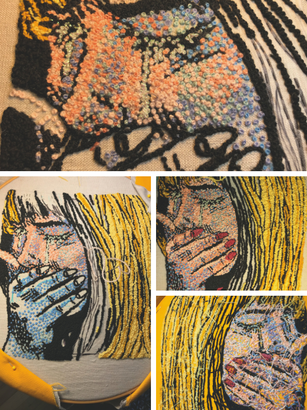 Different stages of hand embroidering a pop art comic book heroine
