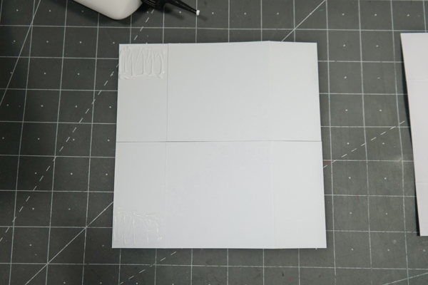 Glue applied to top of card