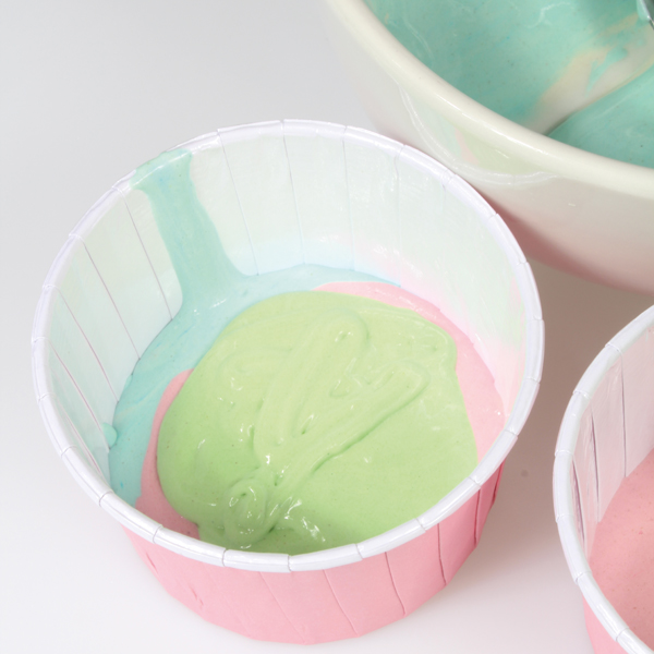 Rainbow cupcakes ready to be baked