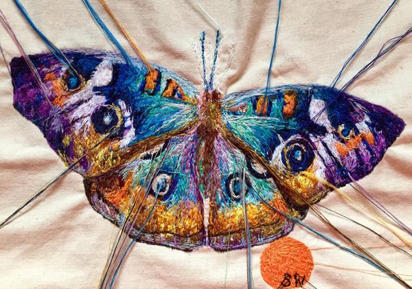 Suzy Wright Buckeye Butterfly embroidery