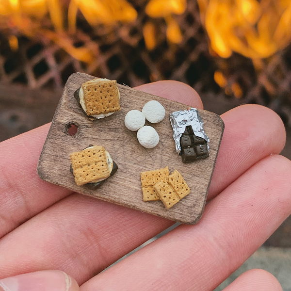 Miniature s'mores in polymer clay