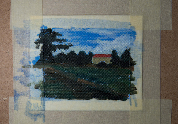 miniature oil painting colours 'blocked' in