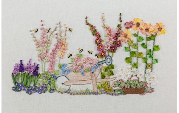 silk ribbon embroidered garden by Tanya Haines