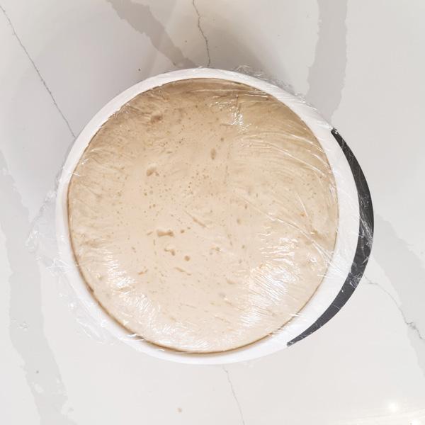 Colomba di Pasqua dough risen