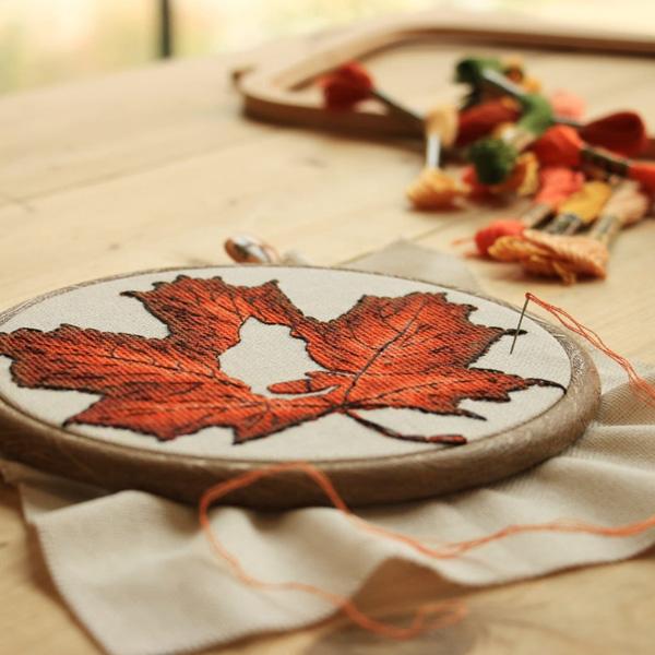 Kate Spiridonova maple leaf cross stitch design