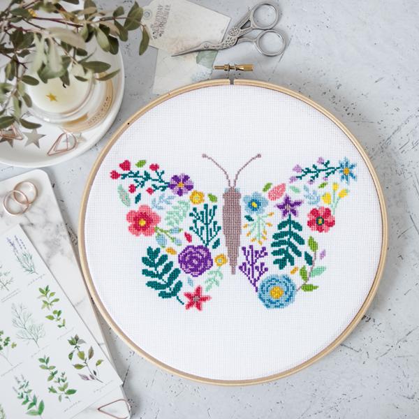 butterfly cross stitch in hoop design by Velvet Pony