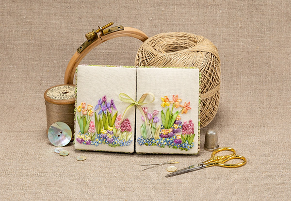 Spring-themed silk ribbon embroidery by Tanya Haines
