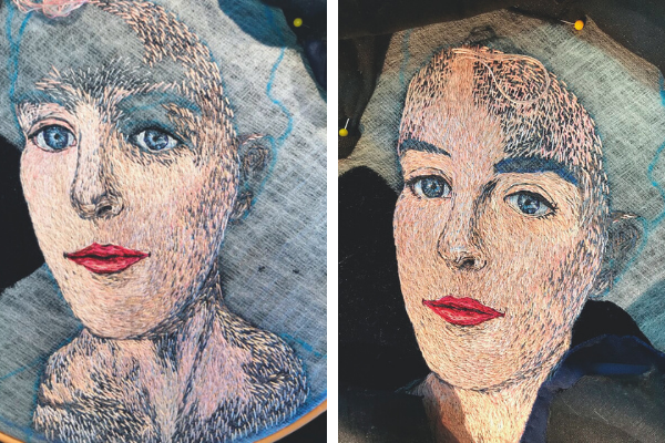hand embroidered portrait in progress