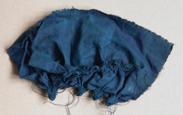 Dyed fabric in deep blue colour