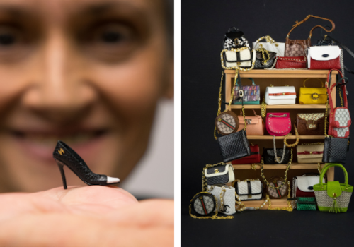 Miniature leather shoe and bags by Patrizia Santi
