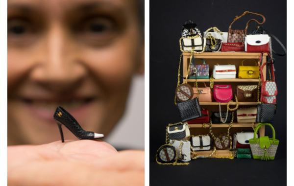 Miniature leather shoe and bags by Patrizia Santi