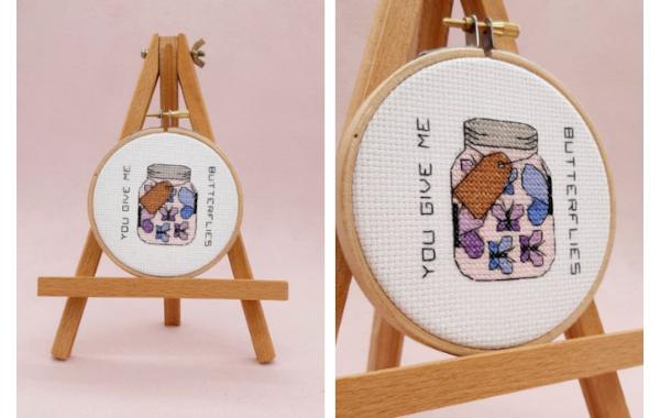 'You give me butterflies' cross stitch pattern in a hoop