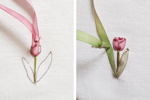 stitching silk ribbon tulips