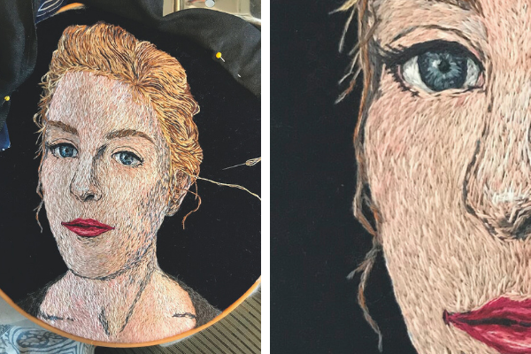 hand embroidered portrait of Amanda in a display hoop