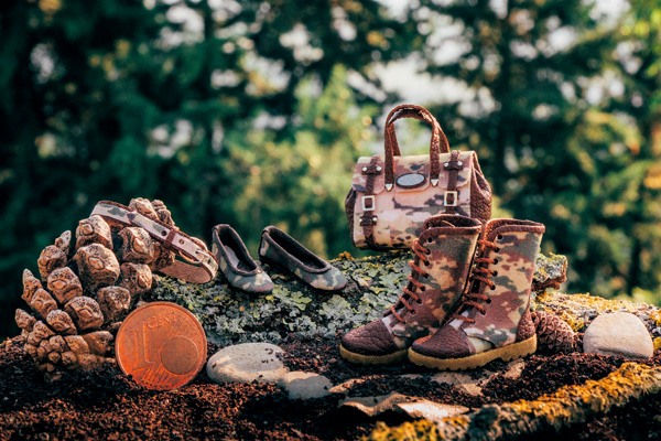 Military print miniature boots, shoes and bag by Patrizia Santi