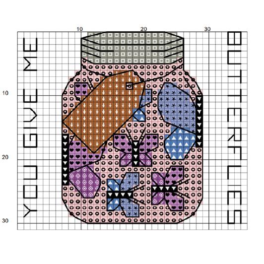 Sew Sophie Crafts butterflies cross stitch chart