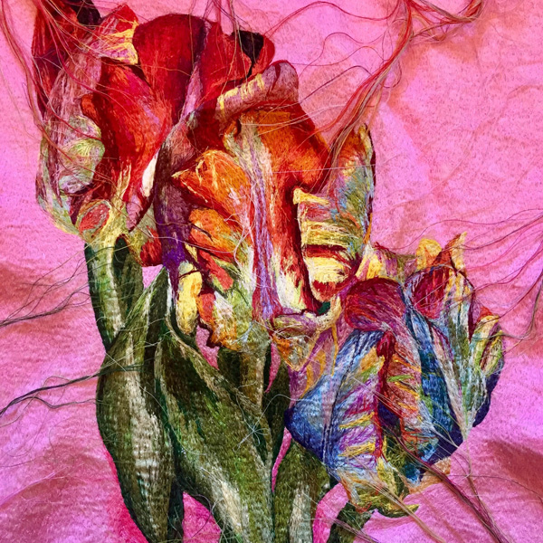 Suzy Wright Parrot Tulip embroidery