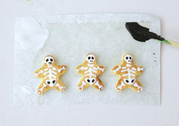 painted skeleton miniature cookies