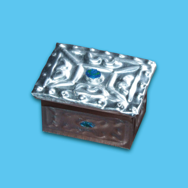 Finished miniature embossed pewter trinket