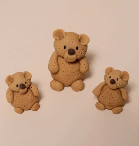fondant teddy bear family