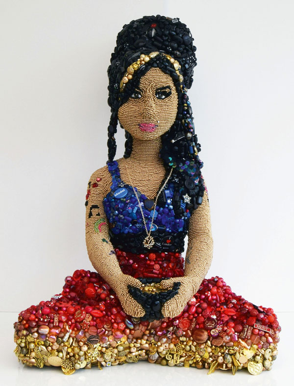 Amy Winehouse beaded embroidery by Sarah Gwyer