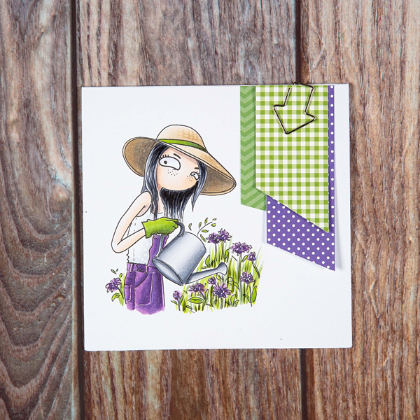 Aquarius digi stamp card with woman watering flowers