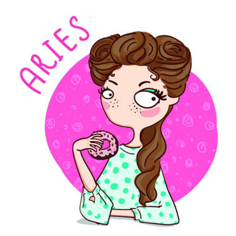Aries illustrated digi stamp of a girl holding a doughnut
