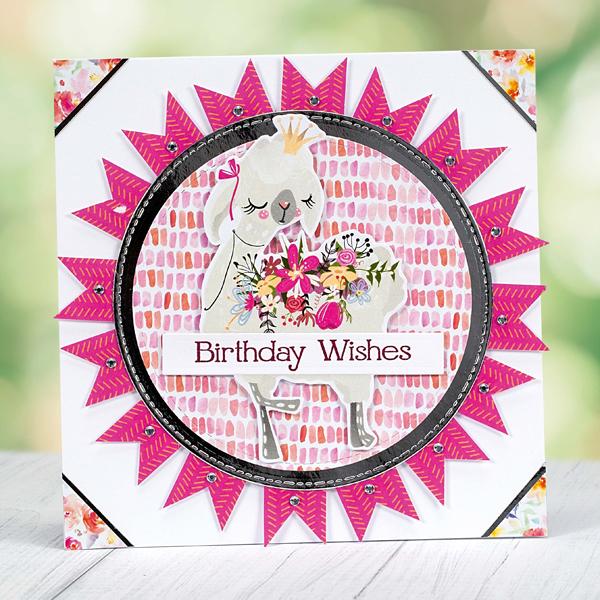 Birthday Wishes rosette llama birthday card