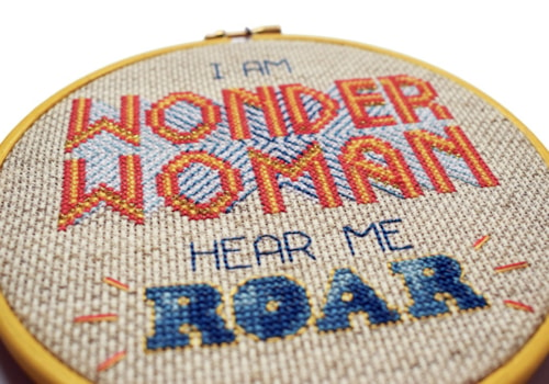 Bobo Stitch Wonder Woman cross stitch design closeup