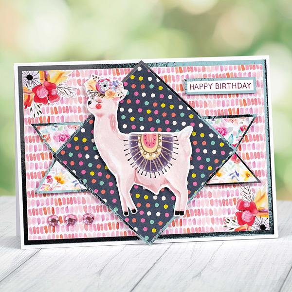 Boho llama birthday card