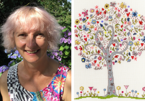 Kate from Bothy Threads and her stitching creation 'Love Tree'