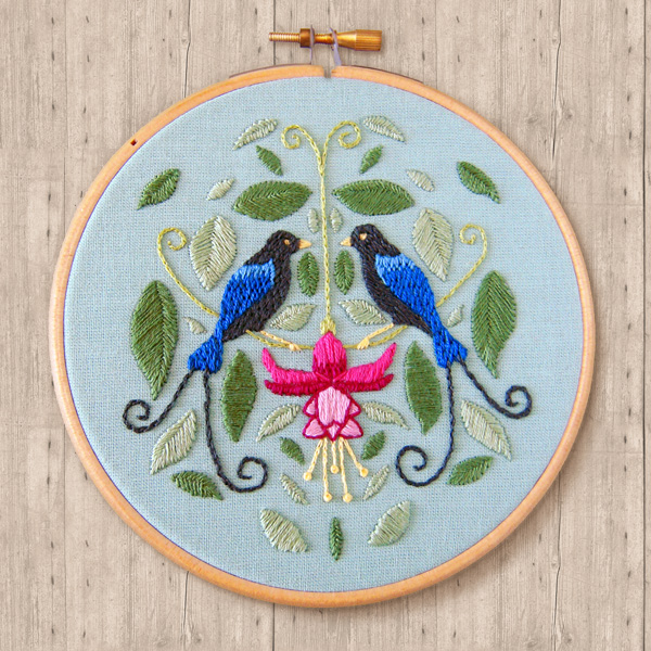 Birds of Paradise embroidery by Vicky's World