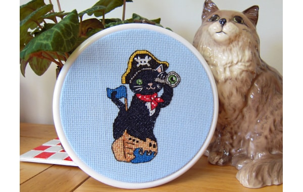 Pirate cat cross stitch design by Vicky's World