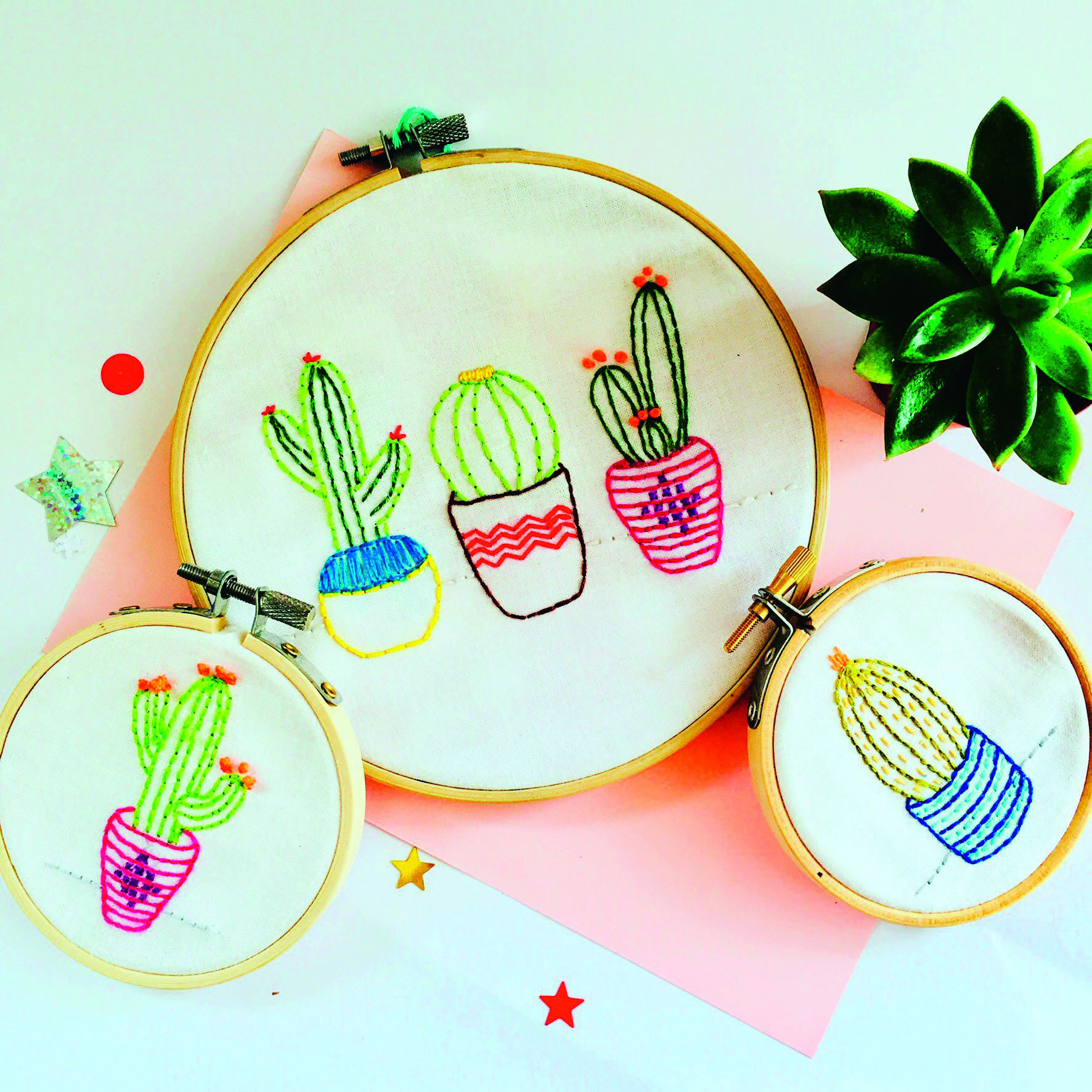 Cactus embroidery by Oz and Belle