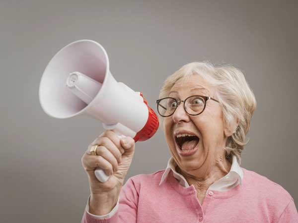Woman holding a megaphone