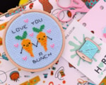 Carrots cross stitch design by The Geeky Stitching Co